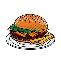 Color crayon stripe cartoon hamburger in dish with vector