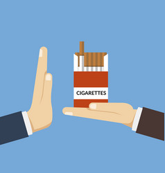 concept of giving up cigarettes a person offers vector image