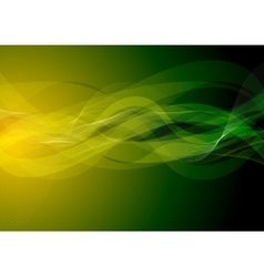 Dark green orange wavy background vector
