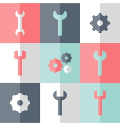 Flat gear and wrench icon set vector image vector image