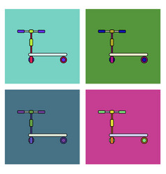 Flat icon design collection children bicycle vector