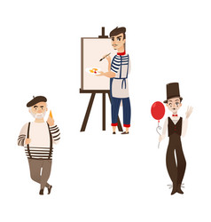 French men characters - artist mime and gourmand vector
