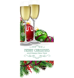 Glasses of champagne with christmas balls vector