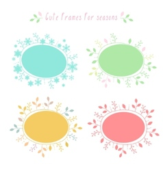 Hand-drawn frames with all seasons vector image vector image