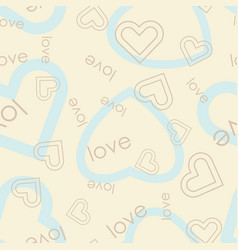 Heart symbol with love text seamless pattern vector