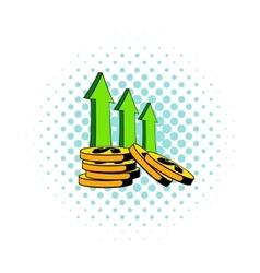 Increase of cash income icon comics style vector