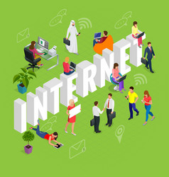 isomeric internet concept web site computer vector image vector image