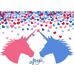 magic background with falling hearts and two vector image