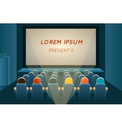 People watching film in cinema vector image