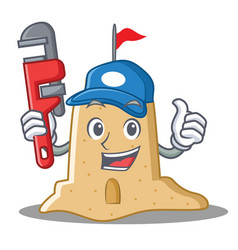 Plumber sandcastle character cartoon style vector