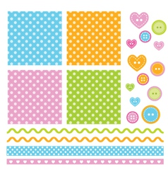 Polka dots scrapbook elements vector