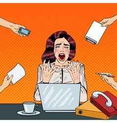 Pop Art Crying Stressed Business Woman Screaming vector image
