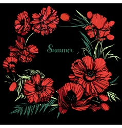 Poppies round color black back vector image vector image