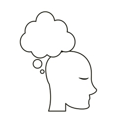 Profile head bubble thought outline vector