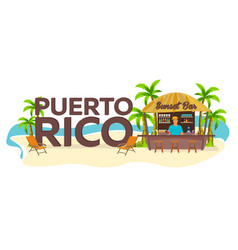 puerto rico travel palm drink summer lounge vector image
