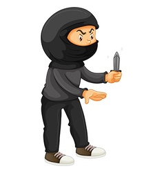 Robber in black holding a knife vector