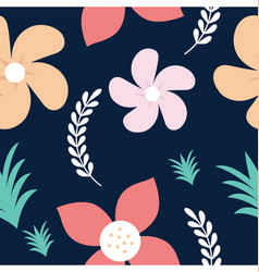 Roses and daisy seamless background vector