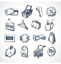 Shopping sketch icons vector