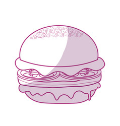 Silhouette delicious hamburger fast food meal vector