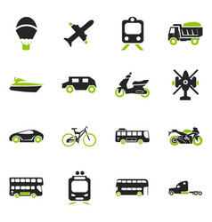 transport types icons set vector image vector image