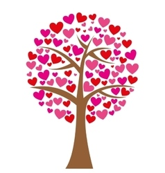 tree hearts love romantic icon vector image