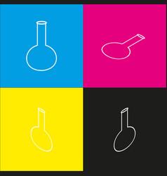 Tube laboratory glass sign white icon vector