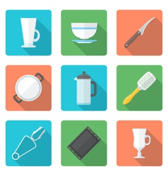 Various flat style dinnerware icons set vector
