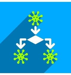Virus reproduction flat square icon with long vector