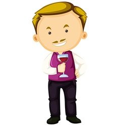 Winemaker holding glass of red wine vector