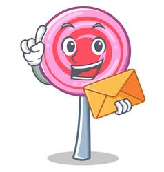 with envelope cute lollipop character cartoon vector image vector image