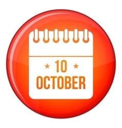 10 october calendar icon flat style vector