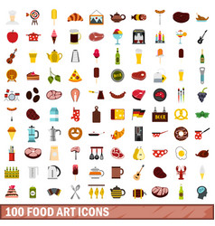 100 food art icons set flat style vector image