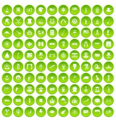 100 top hat icons set green circle vector
