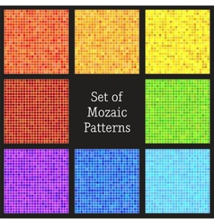 Set of patterns of colorful mosaic vector