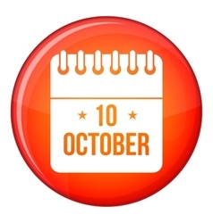 10 october calendar icon flat style vector