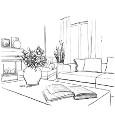 Modern interior room sketch vector image