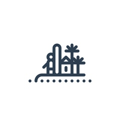 Surfer on island with palms icon and logo vector