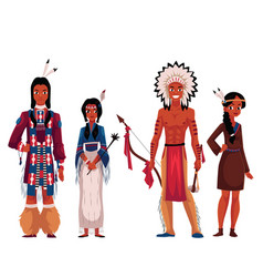 Native american indians men and women in vector