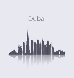 dubai city modern buildings silhouette vector image