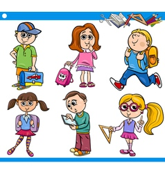 Cute primary school children cartoon set vector