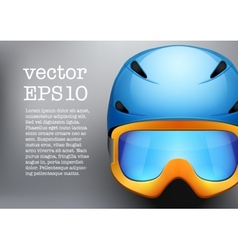 Background of classic ski helmet and orange vector