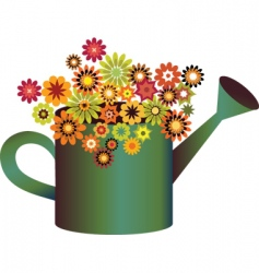 Flowers in watering can vector