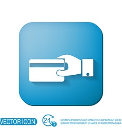 Hand holding credit card credit card in hand vector