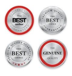 Best silver badges set round metal medal or vector