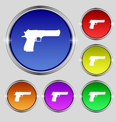 Gun icon sign round symbol on bright colourful vector