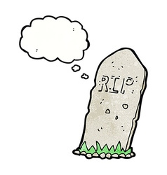 Cartoon spooky grave with thought bubble vector