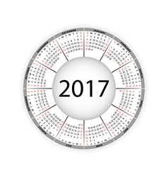 Round calendar for 2017 year vector