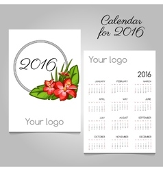 Calendar with floral ornament and space for logo vector