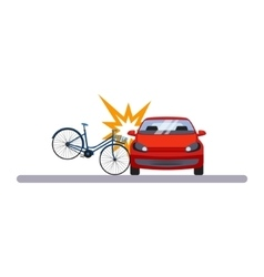 Car and transportation crashed bike vector