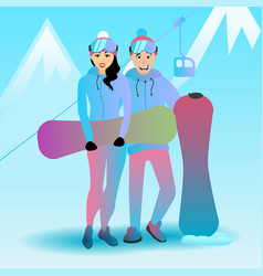 a snowboarding couple vector image